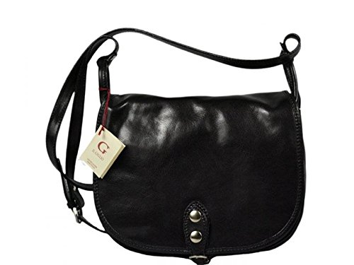 Attractive practical leather black shoulder bag Caccia Nera crossbody