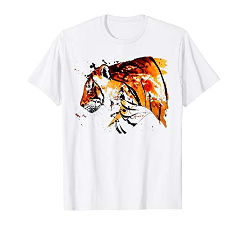 Beautiful Tiger Hand Painted Portrait Art T-Shirt