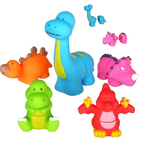 - Dinosaur Baby Bath Toys,Take Apart Bathtub Toys for Kids,5 Pieces Floating Dinosaur Figures Playset,Water Squirties Toddler Toy for Aged 1 2 3 4 5 6 Boys and Girls Gifts