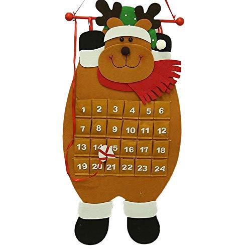 lightclub Calendario de Adviento de Navidad con diseño de Papá Noel y muñeco de Nieve, para Colgar en la Pared, Muñeco de...