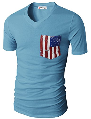 H2H Casual V neck T shirts American