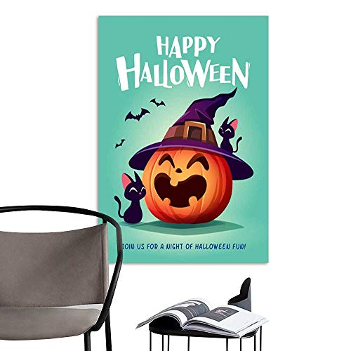 UHOO Arts PaintingHappy Halloween Halloween Pumpkin Black Cat and Jack O Lantern Pumpkin with Witch hat 4.jpg Artwork for Gift for Home Decor 16