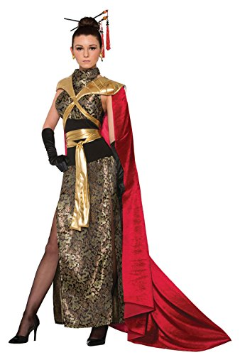 Deluxe Gold Dragon Ninja Costumes (Forum Women's Dragon Empress Deluxe Costume Dress with Full Length Cape, As Shown, STD)