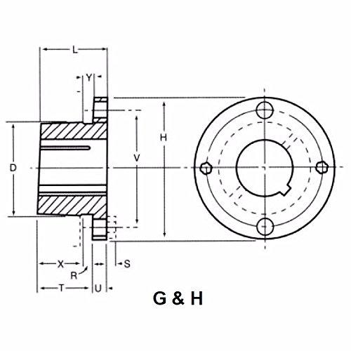 H L V 2.5 Inch Flange Diameter 2 X1//4x3//4 Inch Cap screw 95 Torque Lbs, Inch Width of Keyway W 1-014 P 2 Inch Bolt Circle 1.25 Inch Over All Depth 1-3//16 Inch Bore Ametric/® H.1-3//16 Split Taper Bushing