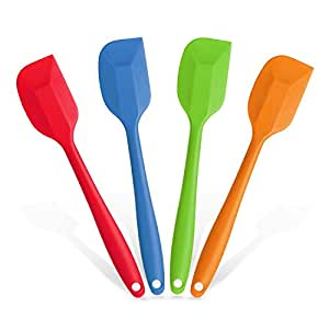 BBQ funland Large Silicone Spatula - Premium Quality - Heat Resistant Cooking Utensils (4-color pack)