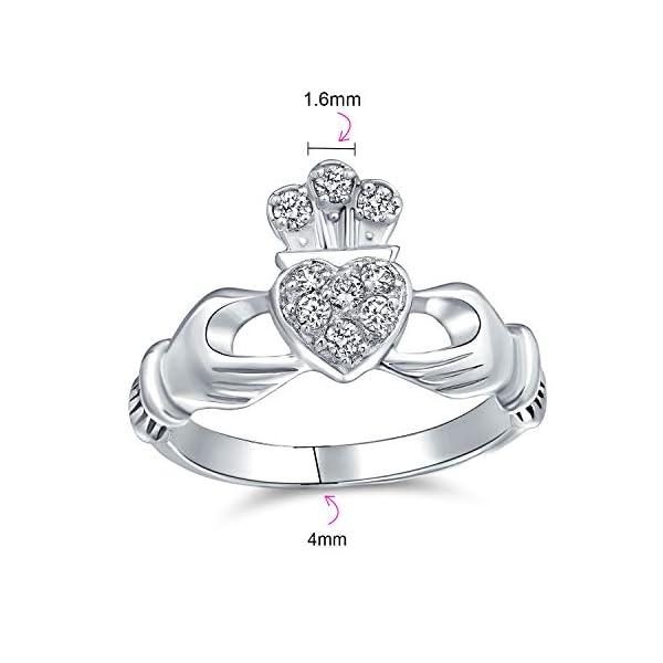 Bling Jewelry BFF Celtico Irlandesi Amicizia Promessa CZ Pave Cuore Claddagh Anello per Donne per La Teen Argento 925