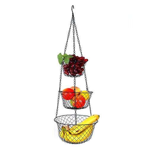 Hanging Basket, 3 Tier Fruit Vegetable Plants Hanging Basket for Kitchen, Black