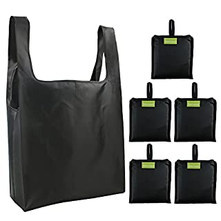 Reusable Grocery Bags Set, Grocery Tote Foldable into Attached Pouch, Ripstop Polyester Reusable Shopping Bags, Washable, Durable and Lightweight (Black)