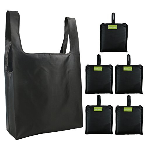 (Reusable Grocery Bags Set, Grocery Tote Foldable into Attached Pouch, Ripstop Polyester Reusable Shopping Bags, Washable, Durable and Lightweight (Black))