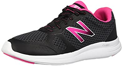 New Balance Women's Versi v1 Cushioning Running Shoe, Black/Pink, 5 D US