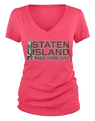 Amdesco Junior's Staten Island New York City V-Neck T-Shirt, Azalea Large