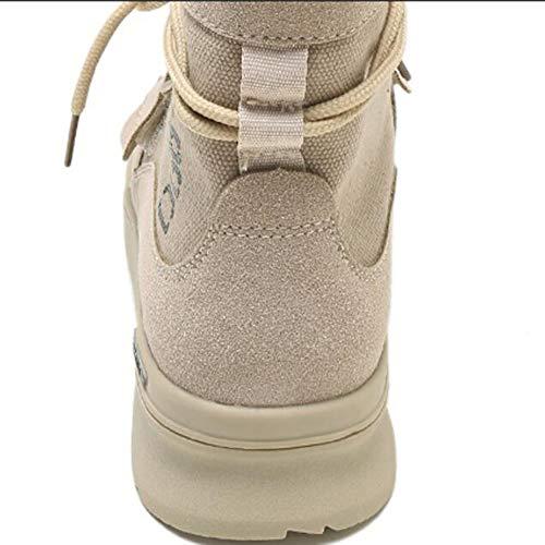 Botas Beige Coreanas de Color The Mujer de versión la Altas FH CN35 de Size Gruesa Boots UK3 EU36 Wild 5 gq6nwdS