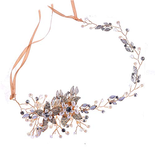 Trendy Crystal Pearl Flower Bridal Headband Handmade Tiara Headdress Gold&Silver Wedding Hair Jewelry Accessories (Eden Bridals Flower Girl Dresses)