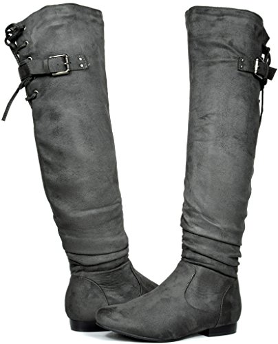 DREAM PAIRS Women's Colby Grey Over The Knee Pull On Boots - 9.5 M US ()