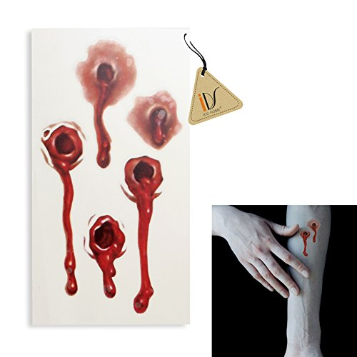 IDS Home 5pcs Halloween Scars Tattoos Fake Blood Bullet Holes Sticker Cosplay Party Costumes Party Kit -