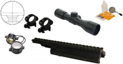 Ultimate Arms Gear Tactical FN FAL / LAR / L1-A1 Rifle Deluxe Weaver Picatinny Rail Scope Sight Dust Cover Replacement Mount + 4x30 Rangefinder Scope + Scope Rings + Covers + Lens Cleaning Kit