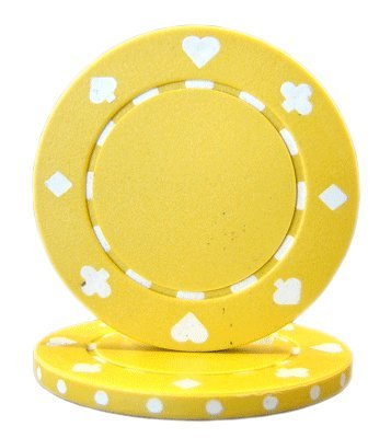 Brybelly Suited Poker Chips (50-Piece), Yellow, 11.5gm ()