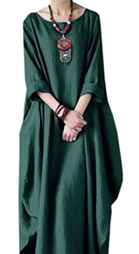 Domple Femmes Linge De Coton Confortable Manches Longues Ourlet Irrégulier Robe Maxi Solide Vert