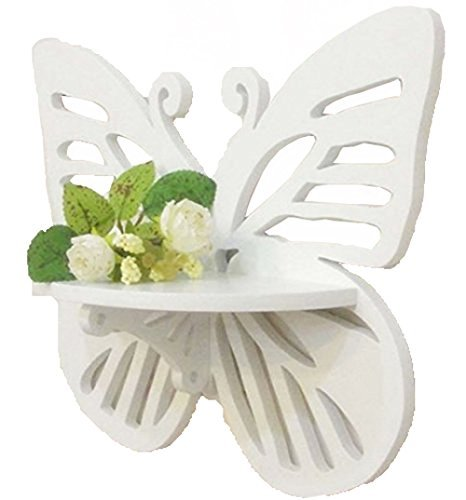 White Butterfly Creative Delicate Wall Decorations Shelf