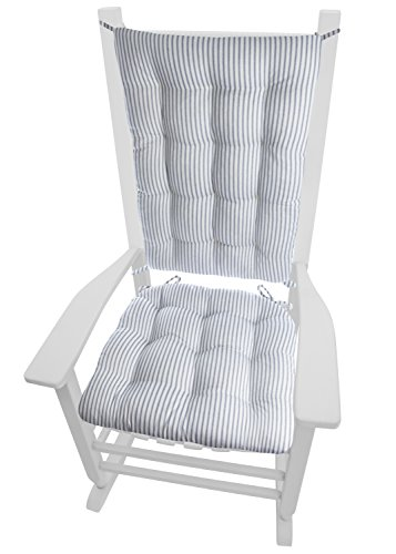 Barnett Home Decor Ticking Stripe Blue Rocking Chair Cushions - Extra-Large - Seat Pad and Back Rest with Ties- Reversible, Latex Foam Fill - Made in USA (Presidential XL, Dark Blue)