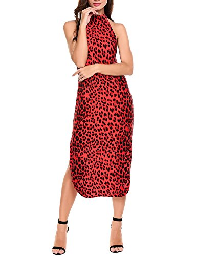 Zeela Women Halter Sleeveless Side Slit Leopard Animal Print Long Party Dress