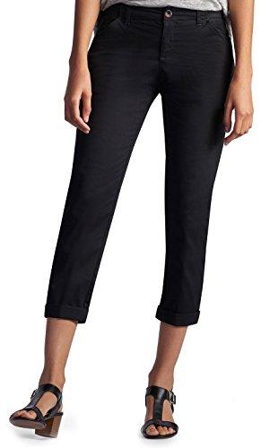 LEE Women's Midrise Fit Essential Chino Capri Pant, Black 8
