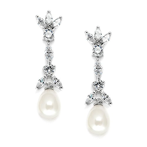 Mariell Cubic Zirconia & Freshwater Pearl Drop Bridal Earrings - Marquis-Cut CZ & Pearls Wedding - Earrings Pearl Bridal Freshwater