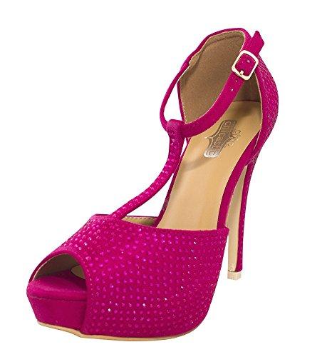 Hot Heels Shoes (Chicastic Rhinestone Pumps T- Strap Peep Toe Women's 4.5