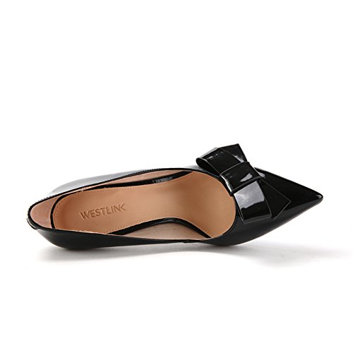 Caída de arco zapatos de charol brillante/Zapatos ligeros de punto/Zapatos de tacón altos de aguja chica A