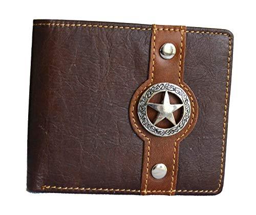 - men texas lone star concho bifold small wallet (coffee)