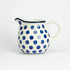 Polish Pottery Creamer Milk Jug – Small Blue Dot