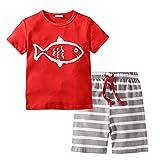 BIBNice Kids Boys Cotton Short Sleeve Set Fish Toddler Pajamas Sets Size 18M