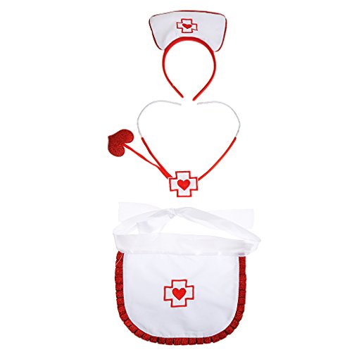 [MagiDeal Nurse Fancy Dress Up Halloween Costume Party Headband Apron Stethoscope Kit] (Sexy Halloween Dress Up)