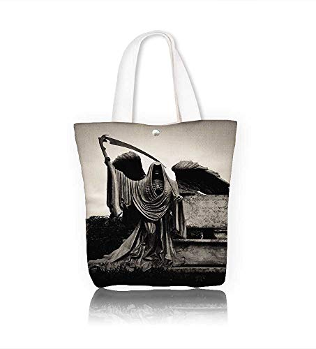 Women's Canvas Tote Bag stone sculpture of grim the reaper death taker or angel of the death processedin dark sepia work school Shoulder Bag W11xH11xD3 INCH
