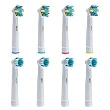 AGPtEK® 8PCS Premium Replacement Toothbrush Heads Set for Oral B Braun - 4 Regular Brush Heads & 4 Soft Round Heads with Health & Safety Standard for Total Mouth Cleaning