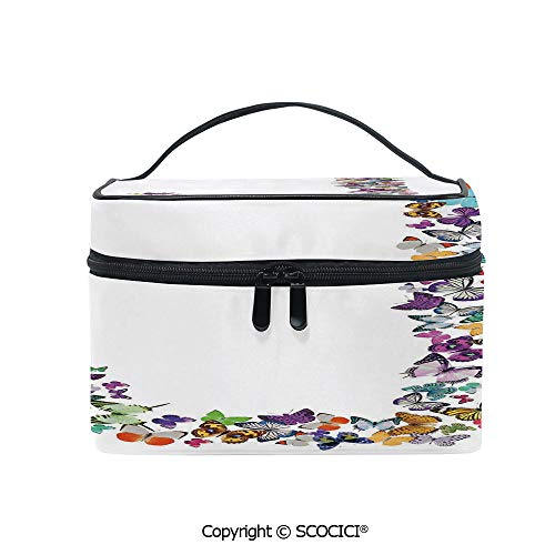 Printed Durable Portable Travel Cosmetic Bags Alphabet and Nature Tropical Biological Monarch Collection of Wings Typeset ABC Decorative with Mesh Pocket Women Make Up Bags