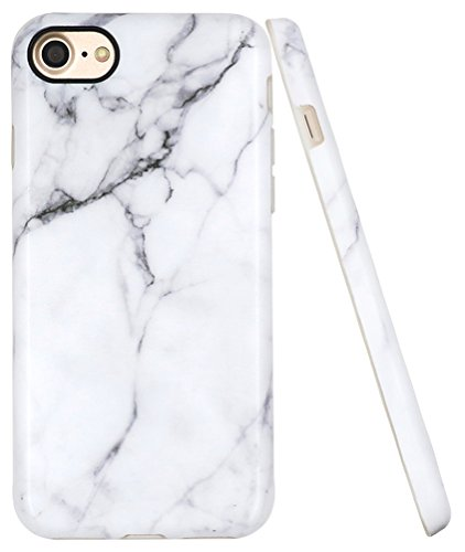 Iphone 7 Case IMD Design, Iphone 8 Marble Case, A-Focus White Marble Stone Pattern Anti-Scratch Anti-Finger Slim Fit Soft Flexible TPU Cover Case for Iphone 7/Iphone 8 4.7