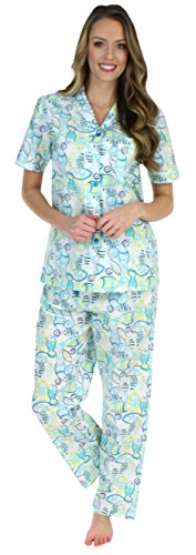Pj Set Ladies (Sleepyheads Women's Sleepwear Cotton Short Sleeve Button-up Top and Pants Pajama Set (SHCP1624-4078-MED))