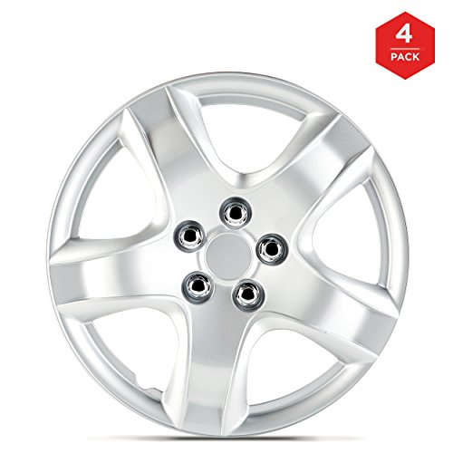 [14 Inch ABS Plastic Hubcaps, mAuto Premium Double Coated Quality Car Wheel Covers for Toyota, Corolla, Camry, Honda, Nissan, Ford, Kia Replica Factory Replacement – Silver Bold 5 Spoke – Set of 4] (14 Inch Plastic Wheel Cover)