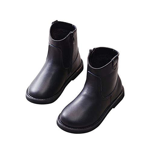 (Children Kids Girls Fur Lined Flat Boots Winter Shoes(EU 28/11 M US Little Kid-Black Plus Velvet))
