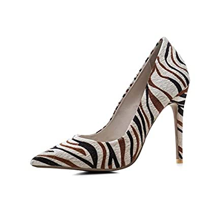 981c32984 TYX-SS Women's Pointed High Heels Court Shoes Single Shoes Sexy Zebra  Stripes High Heels
