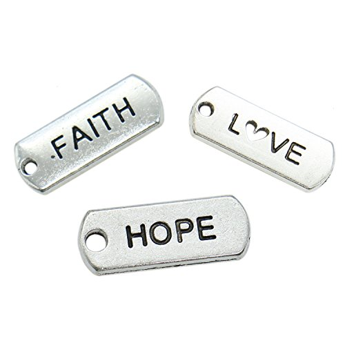 HUELE 60 Pcs Faith Hope Love Silver Tone Inspirational Message Charm Pendants for DIY Bracelet Jewelry Making Accessories -