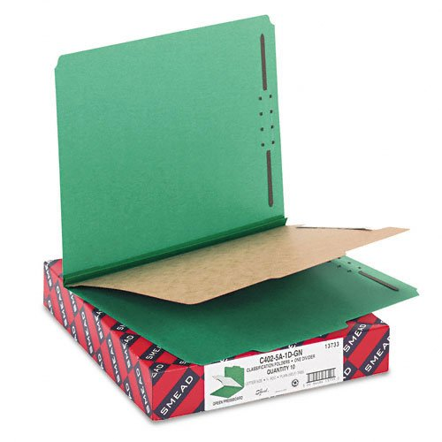 Smead Products - Smead - Pressboard Classification Folders, Letter, 4-Section, Green, 10/Box - Sold As 1 Box - SafeSHIELD™ coated fastener technology. - Feature colored 23 pt. pressboard covers with 2