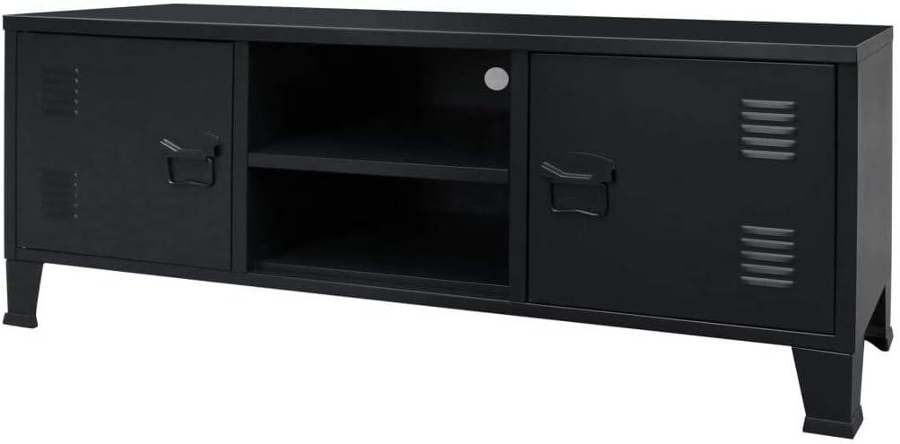 vidaXL Mueble TV 120x35x48 cm Negro Metálico Estilo Industrial Aparador Cómoda