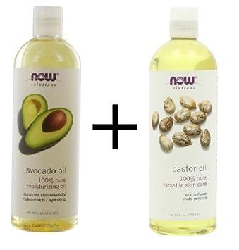 Bundle Now Foods Avocado Oil, 16 oz. PLUS Now Foods Castor Oil, 16 oz.