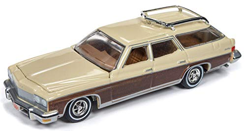 Buick Station Wagon - 1975 Buick Estate Wagon Sand Beige with Woodgrain Muscle Wagons Limited Edition to 4,800 Pieces Worldwide 1/64 Diecast Model Car by Autoworld 64192/ AWSP013 A