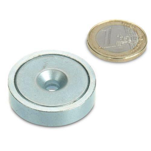 Neodym Flachgreifer /Ø 32,0 x 8,0 mm mit Senkung h/ält 30 kg Magnet mit Senkbohrung zum Anschrauben Topfmagnet verzinkter Stahltopf Werkstattmagnet