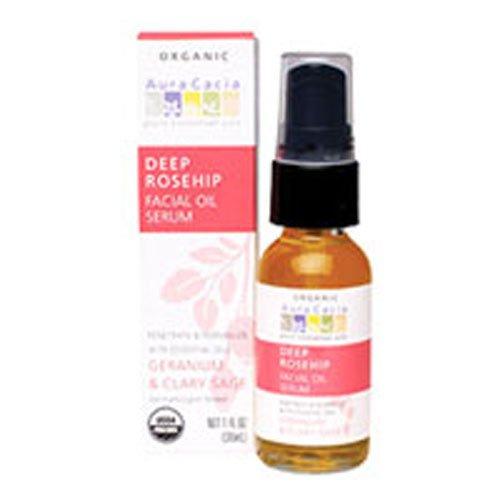 Aura Cacia Organic Facial Oil Serum, Deep Rosehip, Geranium & Clary Sage - 1 fl oz (30 ml), Pack of 3