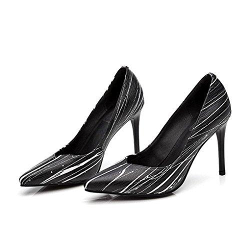 LBDX L'Europe et les États-Unis ont pointé les chaussures des femmes Printemps et été mince haut talon chaussures sexy (Couleur : Noir, taille : 34) Noir