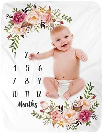 Baby Milestone Blanket Super Soft Fleece Month Blanket Newborn Floral Print Photography Props with Monthly Growth Chart Backdrop 100cm130cm Color : Multi-Colored